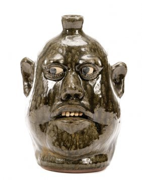 Signed Lanier Meaders Face Jug with Five Teeth