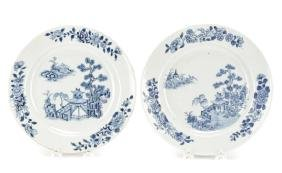 Pair Chinese Export Blue & White Porcelain Plates