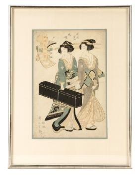 "Kitagawa Utamaro, ""Geisha With Shamisen""-Ca.1830"