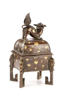 Chinese Gold Splash Bronze Censor W/ Foo Dog Lid