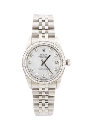 Ladies Stainless Rolex Oyster Perpetual Watch