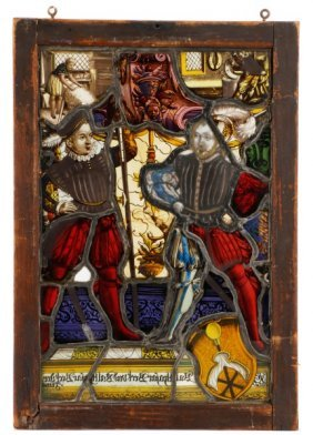 19th C. Swiss Heraldic Stained Glass Panel