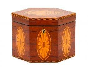 George Iii Inlaid Mahogany Hexagonal Tea Caddy