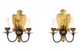 Pair Of Federal Style Twin Light Wall Sconces