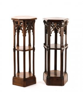 Two Complimenting Gothic Style Pedestals, 19th C