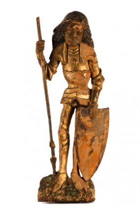 Carved, Giltwood & Polychrome St. George, 16th C.