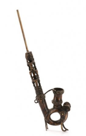 19th C. West African Ceremonial Effigy Bronze Pipe