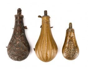 Group Of 3 Copper And Brass Powder Flasks