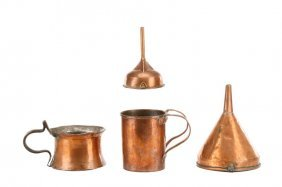 4 Piece Group Of Antique Copper: Pots & Funnels
