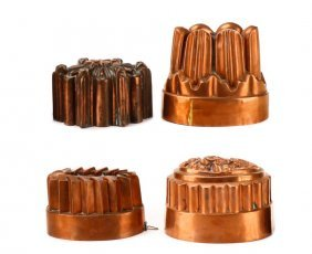 Four 19th/20th Century English Copper Jelly Moulds