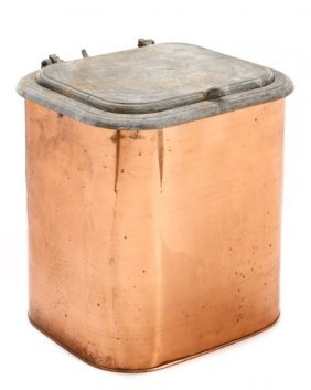 Scarce Rochester Stamping Works Copper Bin W/lid