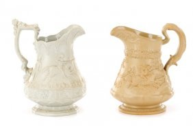 Collection Of 2 Ridgway Drabware Pitchers, 19th C.
