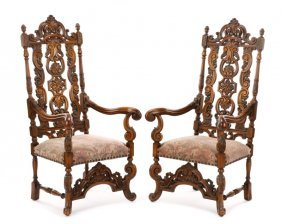 Pair Of Jacobean Style Walnut Open Armchairs