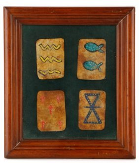 Four Framed Native American Hide Playing Cards
