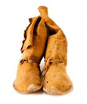 Pair Of Apache Tribe Hide Boot Moccasins
