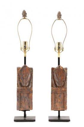 Pair Of Italian Cast Terracotta Table Lamps