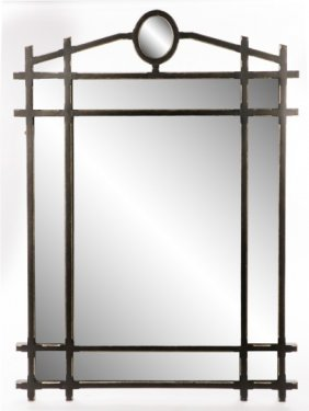 Large Minton-spindell Black Sectioned Mirror