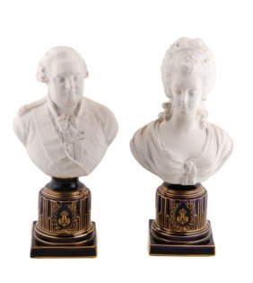 Pair Of Sevres Style Parian Ware Busts, 19th C.