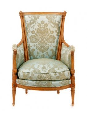 Louis Xvi Period Carved & Upholstered Bergere