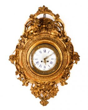 Louis Xv Style Carved Giltwood Cartel Clock C.1850