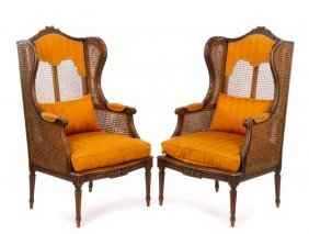 Pair, 19th C. French Caned Walnut Winged Bergeres