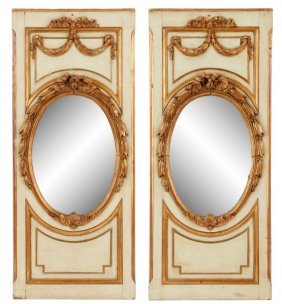 Pair Of Polychrome & Gilt Wood Mirrored Panels