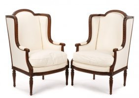 Pair, Fine 19th C. Louis Xvi Style Winged Bergeres