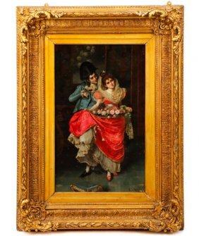 Pio Ricci, The Lovers, Oil On Canvas