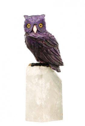 Purple Hard Stone Lapidary Owl On Quartz Base