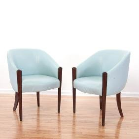 Pair Art Deco Style Leather Tub Chairs