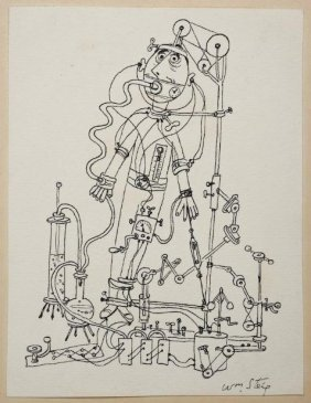 Ink Drawing By William Steig (1907-2003, Amer.)