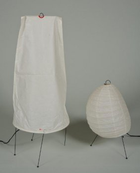 (2) Paper Table Lamps By Isamu Noguchi