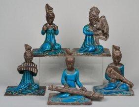 Set (5) Fantoni Style Italian Pottery Chinese Mus