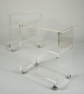 Pair Decorator 3-tier Lucite Side Tables