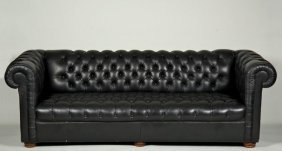 Black Button-tufted Leather Chesterfield Sofa