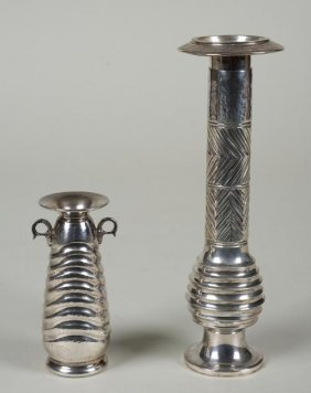 Sterling Candlestick And Vase By Ilias Lalaounis