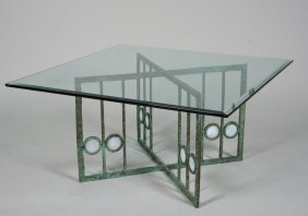 Patinated Bronze And Glass Coffee Table By Tony B