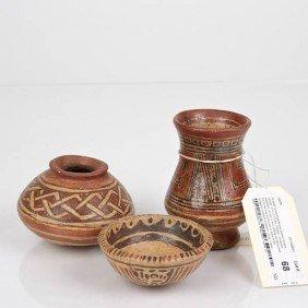 (3) Small Costa Rican/Nicoya Painted Ceramic Vessel