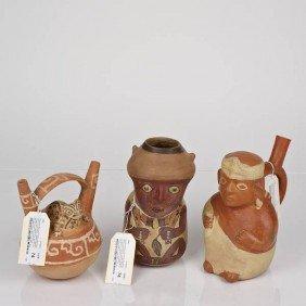 (3) Huari And Moche III/IV Ceramic Effigy Vessels