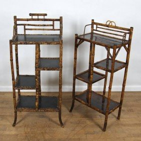 Near Pair Victorian Bamboo, Leather/lacquer Etage