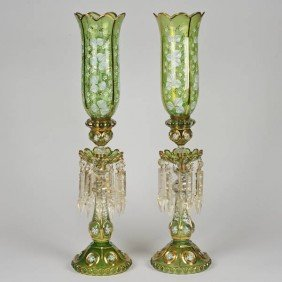 Pair Victorian Enameled Green Glass Hurricane Lus