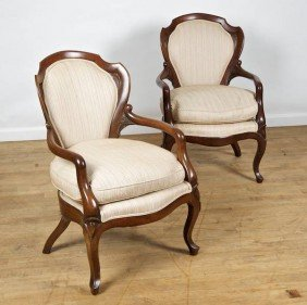 Pair Laminated Rosewood Armchairs Attrib. To Belt