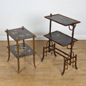 (2) Victorian Bamboo Turned And Japanned Lacquer