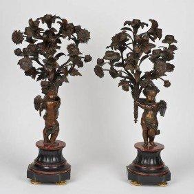 Pair Napoleon III Patinated Bronze Putto Candelab