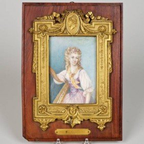 Nice Gilt Bronze Mounted Portrait On Ivory