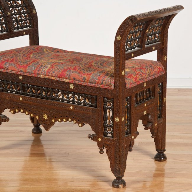 Moroccan mother pearl inlaid mosharabi bench lot 2395 Moroccan bench