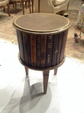 Italian Leather Book Spine Side Table