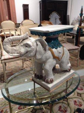 Italian Pottery Elephant Table