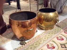 (2) Asian Brass And Copper Planters