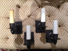 Set (4) Patinated Bronze Wall Sconces